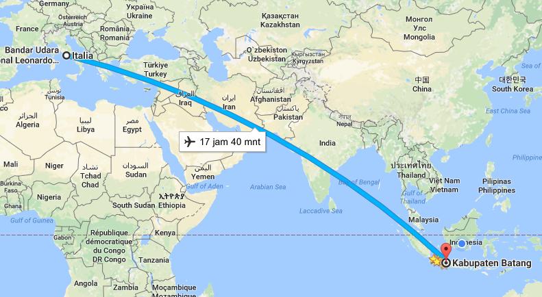 Jarak Italia menuju Kabupaten Batang - Jawa Tengah