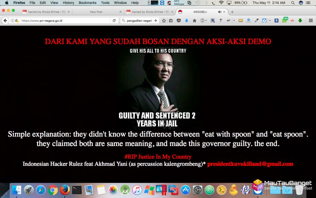 www.pn-negara.go.id di deface dengan pesan RIP Justice In My Country