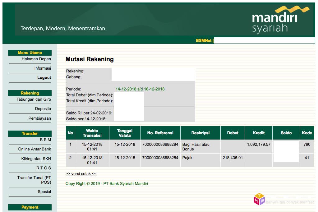 Bagi hasil deposito Bank Syariah Mandiri (BSM) Desember 2018