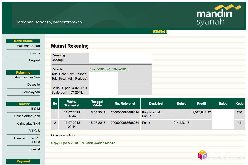 Bagi hasil deposito Bank Syariah Mandiri (BSM) Juli 2018