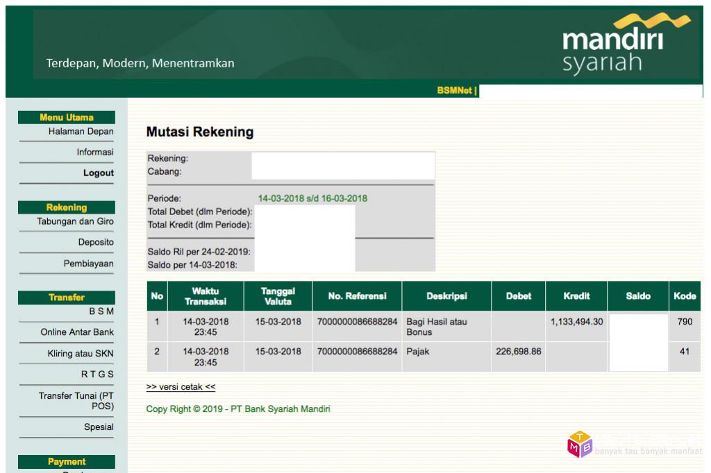 Bagi hasil deposito Bank Syariah Mandiri (BSM) Maret 2018