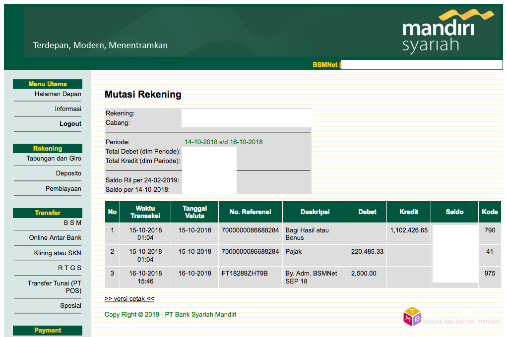 Bagi hasil deposito Bank Syariah Mandiri (BSM) Oktober 2018