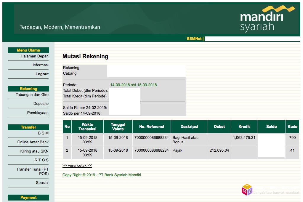 Bagi hasil deposito Bank Syariah Mandiri (BSM) September 2018